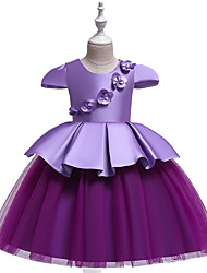 cheap -Princess Knee Length Wedding / Party / Pageant Flower Girl Dresses - Cotton / Satin / Tulle Cap Sleeve Jewel Neck with Belt / Appliques / Splicing