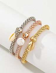 cheap -3pcs Women's Vintage Bracelet Earrings / Bracelet Pendant Bracelet Layered Shell Simple Classic Vintage Ethnic Fashion Shell Bracelet Jewelry Gold For Daily School Street Holiday Festival