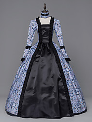 cheap -Princess Maria Antonietta Floral Style Rococo Victorian Renaissance Dress Party Costume Masquerade Women's Lace Costume Blue Vintage Cosplay Christmas Halloween Party / Evening 3/4 Length Sleeve