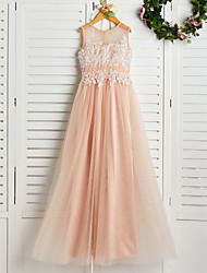 cheap -A-Line Jewel Neck Sweep / Brush Train Lace / Tulle Junior Bridesmaid Dress with Appliques