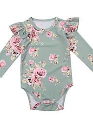 abordables -bébé Fille Actif / Basique Fleur Manches Longues Une-Pièce Vert