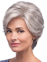 cheap -Human Hair Wig Medium Length kinky Straight Natural Straight Bob Pixie Cut Layered Haircut Asymmetrical Silver Fashionable Design Adjustable Comfortable Capless Women's All Sliver White 8 inch