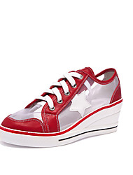cheap -Women's Sneakers Sexy Shoes Wedge Heel Round Toe Mesh Casual / Minimalism Spring & Summer Black / Red / Pink