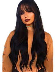 cheap -Human Hair Wig Long kinky Straight Natural Wave Bob Asymmetrical Neat Bang With Bangs Black Life Easy dressing Comfortable Capless Women's All Natural Black 24 inch / Natural Hairline