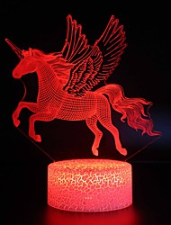 abordables -Eclairage LED Licorne Brillant Dessin Animé 3D Adorable Carcasse de plastique Enfant Adolescent Tous Jouet Cadeau 1 pcs