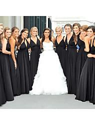cheap -A-Line Spaghetti Strap Floor Length Chiffon Bridesmaid Dress with Ruching / Pleats