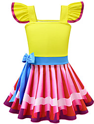cheap -Kids Girls' Cute Street chic Striped Color Block Bow Sleeveless Knee-length Dress Yellow