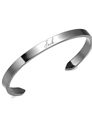 cheap -Personalized Customized Bracelet Titanium Steel Classic Name Engraved Gift Promise Festival Circle 1pcs Gold Silver / Laser Engraving