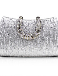 cheap -Women's Crystals PU Evening Bag Solid Color Black / Champagne / Gold