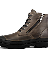 cheap -Men's Combat Boots Nappa Leather Fall & Winter Business / Casual Boots Walking Shoes Warm Booties / Ankle Boots Black / Brown