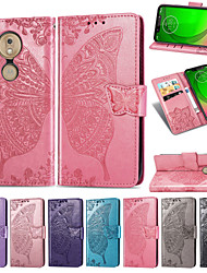 cheap -Case For Motorola Moto G7 / Moto G7 Power Embossed / Flip / with Stand Full Body Cases Flower / Butterfly Soft PU Leather for Moto G7 / Moto G7 Play / Moto G7 Power