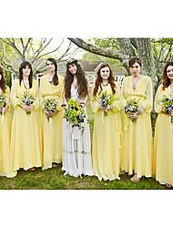 cheap -A-Line Plunging Neck Floor Length Chiffon Bridesmaid Dress with Sash / Ribbon / Ruching