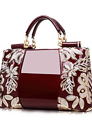 cheap -Waterproof Tote Women's PU Leather Sequin Zipper Solid Color Shopping Daily Wine Black Red Gold Royal Blue / Fall & Winter
