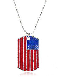 cheap -Women's Pendant Necklace Classic American flag Flag Patriotic Jewelry European Trendy Sweet Fashion Chrome Silver 40+5 cm Necklace Jewelry 1pc For Daily Street Holiday Festival