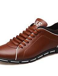 cheap -Men's Comfort Shoes Leather Spring & Summer British Athletic Shoes Wear Proof Black / Yellow / Red