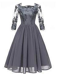 cheap -Women's A Line Dress - Floral Lace Square Neck Lace Wine Blue Gray S M L XL