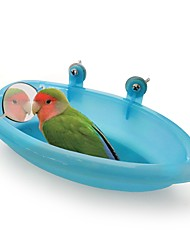 cheap -Bird Bathtub with Mirror Portable Easy Install Plastic Bird Toys Bird Supplies 18.7*10*3.5 cm