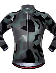 abordables -WOSAWE Homme Femme Manches Longues Maillot Velo Cyclisme Couleur camouflage camouflage Cyclisme Maillot Hauts / Top VTT Vélo tout terrain Vélo Route Séchage rapide Des sports Polyester Spandex