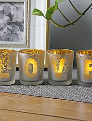 cheap -Love Plating Glass Candlestick Desktop Decoration Wedding Decoration