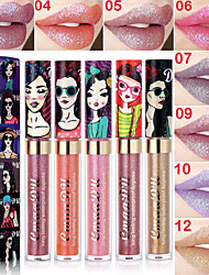 cheap -1 pcs 12 Colors Daily Makeup Waterproof / Universal / Lips Shimmer Waterproof / Long Lasting / Beauty Glitters / High Quality Makeup Cosmetic Office / Career / Dailywear / Wedding Party Grooming