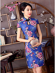 cheap -Adults Women's Chinese Style Chinese Style Cheongsam Qipao For Party & Evening Club Uniforms 100% Polyester Above Knee Dress Cheongsam