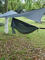 cheap -Camping Hammock with Mosquito Net Outdoor Windproof Rain Waterproof Nylon with Carabiners and Tree Straps for 1 person Hiking Travel Green 245*140 cm