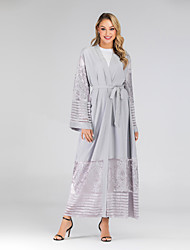 billige -Arabian Voksne Dame A-linje Seddel Abaya Muslimsk kjole Maxi kjoler Til Fest Tyl polyester Patchwork Broderi Halloween Karneval Maskerade Kjole