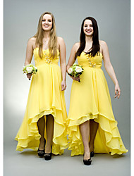 cheap -A-Line Sweetheart Neckline Asymmetrical Chiffon Bridesmaid Dress with Beading / Ruching