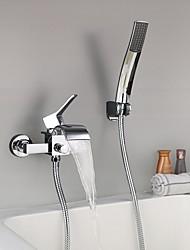 cheap -Shower Faucet / Bathtub Faucet - Contemporary Chrome Wall Mounted Ceramic Valve Bath Shower Mixer Taps