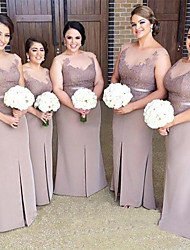 cheap -Mermaid / Trumpet Bateau Neck Floor Length Lace / Satin Bridesmaid Dress with Appliques / Lace