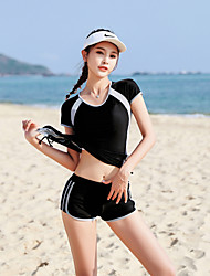 cheap -Women's Two Piece Swimsuit Spandex Swimwear Quick Dry Short Sleeve 2-Piece - Swimming Surfing Patchwork Summer / Stretchy