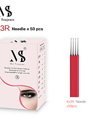 abordables -50pcs aiguilles de microblading manuelles 4x3rows 3r lames de tebori coloration rapide pour le maquillage permanent des sourcils