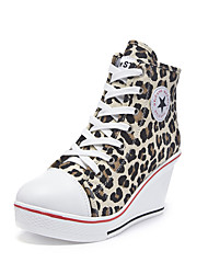 cheap -Women's Sneakers Sexy Shoes Wedge Heel Round Toe Canvas Casual / Minimalism Spring & Summer Leopard