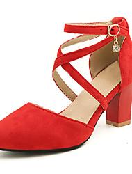 cheap -Women's Heels Chunky Heel Pointed Toe Suede Sweet / Minimalism Spring & Summer Black / Blue / Dark Red