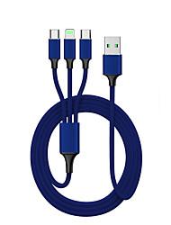 Недорогие -Подсветка Кабель Нормальная / От 1 до 3 Терилен / Нейлон / Искусственная кожа Адаптер USB-кабеля Назначение Samsung / Huawei / Nokia