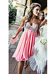 cheap -A-Line Sweetheart Neckline Knee Length Chiffon Bridesmaid Dress with Appliques
