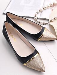 cheap -Women's Flats Glitter Crystal Sequined Jeweled Flat Heel PU Spring &  Fall Black / Beige