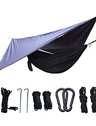 cheap -Camping Hammock with Mosquito Net Hammock Rain Fly Outdoor Portable Windproof Sunscreen Parachute Nylon with Carabiners and Tree Straps for 2 person Camping / Hiking Hunting Fishing Dark Blue 270*140