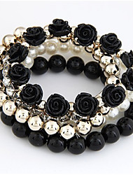 cheap -Women's Bracelet Bangles Wrap Bracelet Layered Roses Flower Love Vintage Cute Colorful Imitation Pearl Bracelet Jewelry White / Black / Red For Party Daily Holiday