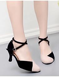 cheap -Women's Modern Shoes Ballroom Shoes Heel Splicing Flared Heel Black / Red Black / Blue Pink / Black Ankle Strap / Performance / Practice