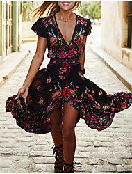 cheap -A-Line V Neck Ankle Length Chiffon Floral / Black Holiday / Cocktail Party Dress with Pattern / Print / Split Front 2020