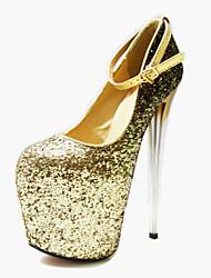 cheap -Women's Heels Stiletto Heel Closed Toe Sequin Synthetics British / Minimalism Fall / Spring & Summer Gold / Silver / Wedding / Party & Evening