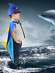 Недорогие -Вампиры Shark Шапки Накидка Маскарад Детские Мальчики Косплей Хэллоуин Рождество Хэллоуин Карнавал Фестиваль / праздник Ткань Синий Карнавальные костюмы Пэчворк