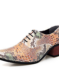 cheap -Men's Formal Shoes Leather Spring / Fall Business / British Oxfords Walking Shoes Non-slipping Brown / Black#1B / White / Wedding / Party & Evening / Party & Evening / Printed Oxfords / Dress Shoes