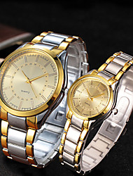 cheap -Couple's Steel Band Watches Quartz Stainless Steel Silver / Gold 30 m Water Resistant / Waterproof Casual Watch Cool Analog Classic Fashion - Gold White Black One Year Battery Life