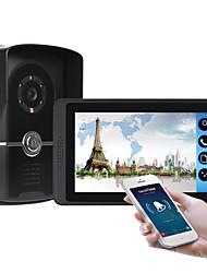 Недорогие -618fc11 7-дюймовый емкостный сенсорный экран видеокамеры проводной видео дверной звонок Wi-Fi / 3 г / 4 г удаленного вызова разблокировки хранения визуальный домофон один в один