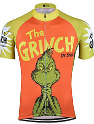 Недорогие -21Grams Муж. С короткими рукавами Велокофты Оранжевый Новинки Смешной Велоспорт Верхняя часть Устойчивость к УФ Дышащий Влагоотводящие Виды спорта Терилен Горные велосипеды Шоссейные велосипеды Одежда