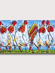 cheap -Oil Painting Hand Painted - Abstract Animals Modern Rolled Canvas