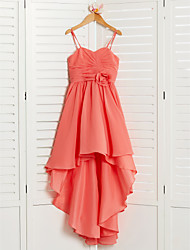 cheap -A-Line Asymmetrical Junior Bridesmaid Dress Wedding Chiffon Sleeveless Spaghetti Strap with Pleats
