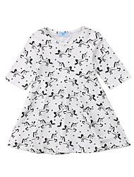 cheap -Baby Girls' Active / Basic Print Half Sleeve Dress White